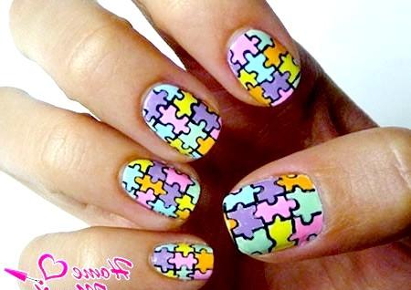 Фото - красива мозаїка на дитячих нігтях