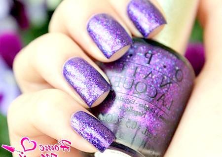 Фото - бузковий гліттерний лак для нігтів opi