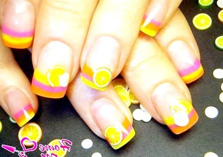 Фото - дизайн нігтів з фруктами фимо