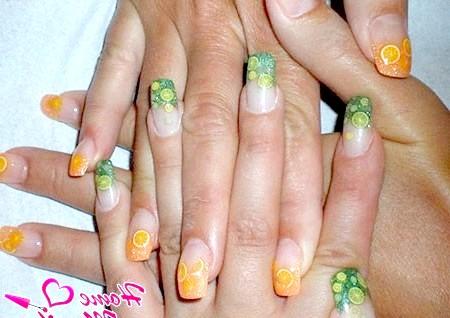 Фото - цитрусовий дизайн нігтів з декором фимо