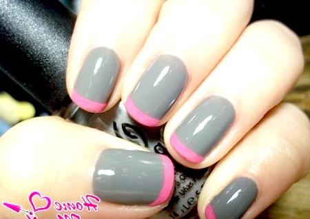 Фото - поєднання сірого і рожевого в дизайні нігтів