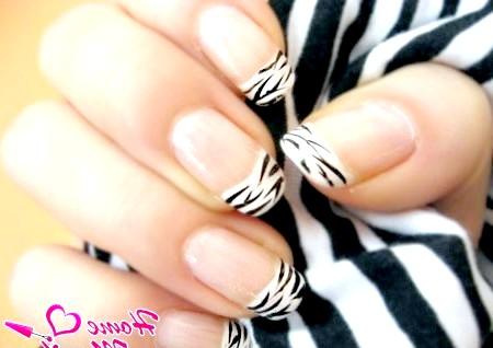 Фото - чорно-білий нейл-арт в стилі зебри на нігтях