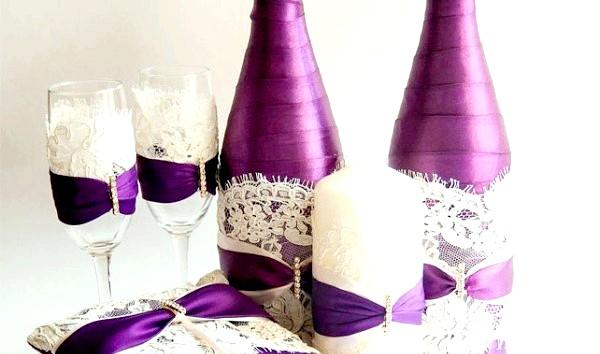Фото - як можна прикрасити пляшку шампанського