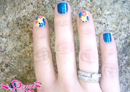 Фото - маленькі нігті в мозаїчному стилі