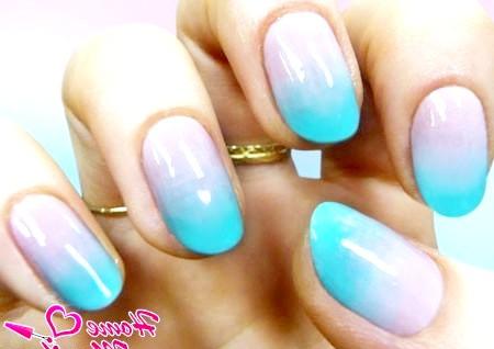 Фото - розтяжка гель-лаком на коротких нігтях