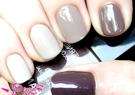 Фото - омбре на нігтях в сіро-коричневих тонах