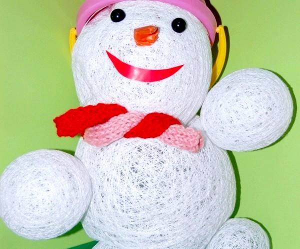 Фото - Сніговик з ниток своїми руками: фото