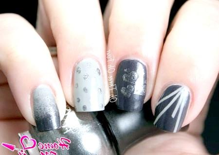 Фото - стильний нейл-арт в різних відтінках сірого