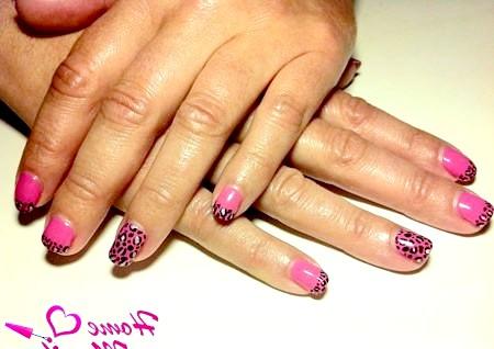 Фото - леопардовий манікюр на коротких нігтях