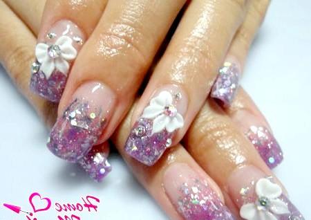 Фото - модний дизайн нігтів з глітером і акрилом