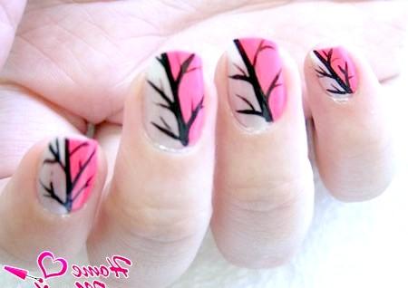 Фото - прості малюнки дерев на нігтях
