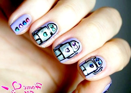 Фото - скляні сердечка на нігтях