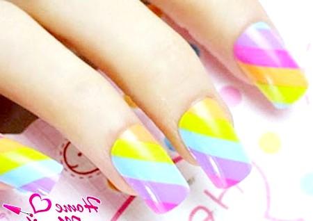 Фото - класний райдужний дизайн нігтів на літо 2014