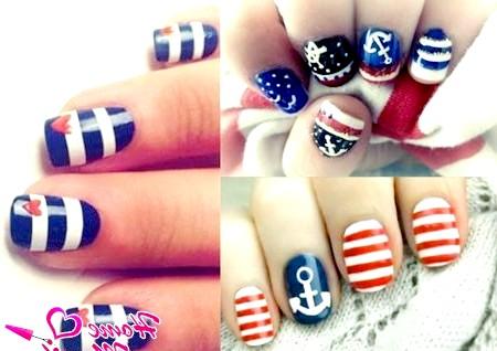 Фото - колаж нігтів з матроським дизайном