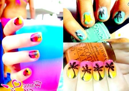 Фото - пальми на нігтях
