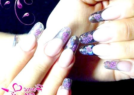 Фото - розкішні нарощені нігті зі слюдою і фимо