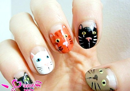 Фото - дизайн нігтів з мордочками кішок