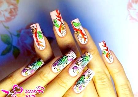Фото - екзотична флористика в дизайні нігтів