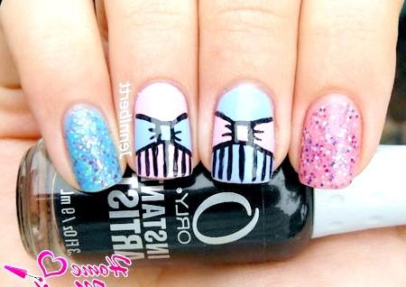 Фото - стильні і красиві малюнки бантиків на нігтях