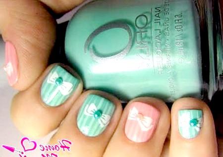 Фото - дизайн нігтів з бантиками в пастельних тонах