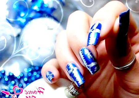 Фото - гарний дизайн нігтів на новий рік 2014