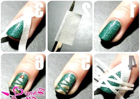 Фото - покроковий дизайн нігтів з новорічною ялинкою