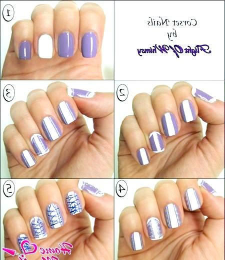 Фото - малювання корсета на нігтях покроково