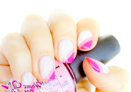 Фото - діагональний френч з подвійною рожевої посмішкою