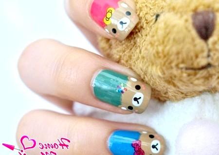 Фото - милий дизайн нігтів з ведмежими мордочками