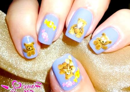 Фото - наклейки для нігтів з ведмедиками