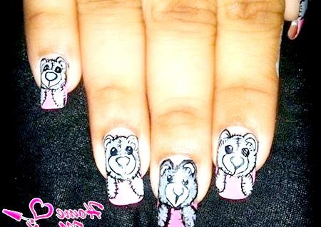 Фото - ніжні малюнки ведмедиків Тедді на нігтях