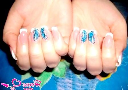 Фото - композиція з метеликом на двох пальцях