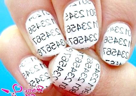 Фото - газетний дизайн нігтів в школу з цифрами