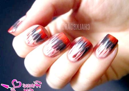 Фото - абстрактні візерунки на нігтях голкою