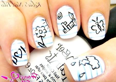 Фото - нігті в стилі малюнків у зошиті