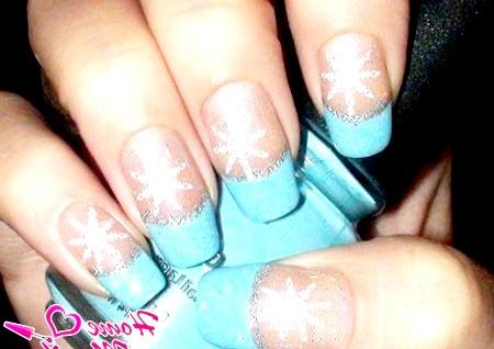 Фото - зимовий блакитний френч зі сніжинками