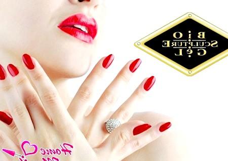 Фото - червоні нігті bio sculpture gel