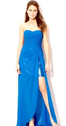 Фото - Синє плаття з відкритою ніжкою для новорічного торжества