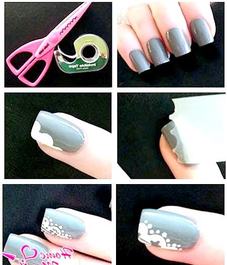 Фото - красиве мереживо на нігтях за допомогою скотча