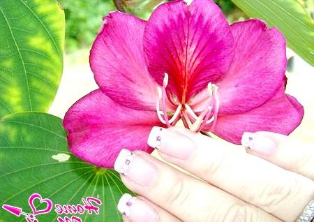 Фото - красивий малюнок на нігтях в зоні лінії посмішки