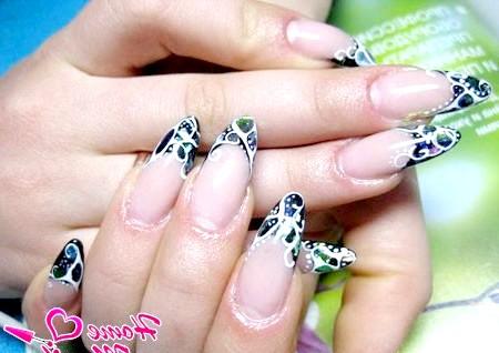 Фото - роспісаннимі френч на довгих нігтях