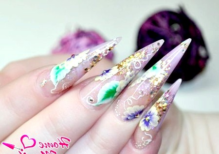 Фото - китайський розпис на нарощених нігтях