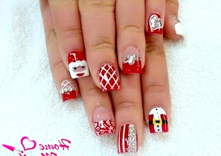 Фото - нарощування коротких нігтів на Новий рік