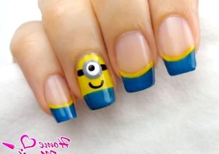 Фото - готовий дизайн нігтів з міньйонами