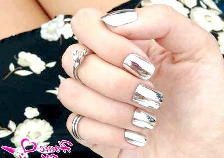 Фото - дзеркальний дизайн нігтів Мінкс зі сталевим відблиском