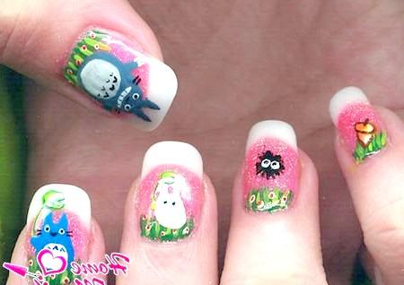 Фото - смішні малюнки мультяшек на нігтях френч