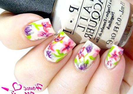 Фото - квіти на нігтях акриловими фарбами