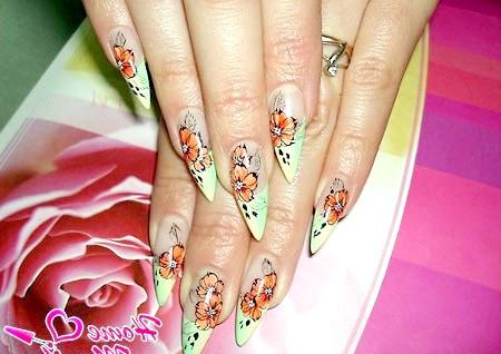 Фото - красива художній розпис мигдалеподібних нігтів