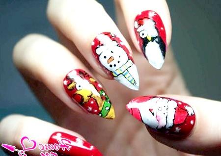 Фото - новорічна художній розпис нігтів