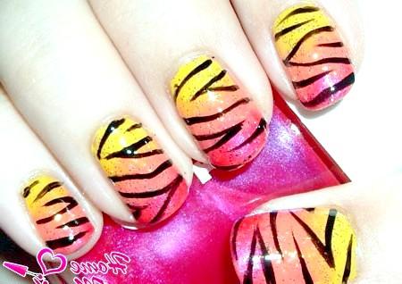 Фото - тигровий дизайн нігтів з переходом кольору